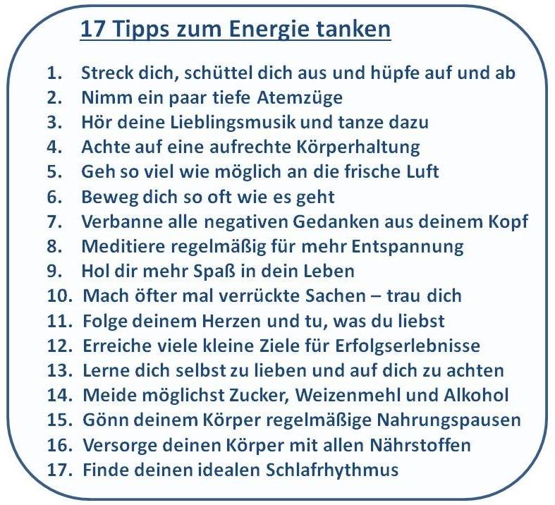 17 Tipps zum Energie tanken Übersicht