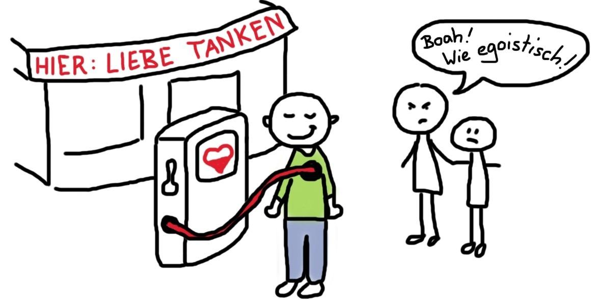 Mensch an der Selbstliebe_Tankstelle wird als egoistisch beschimpft
