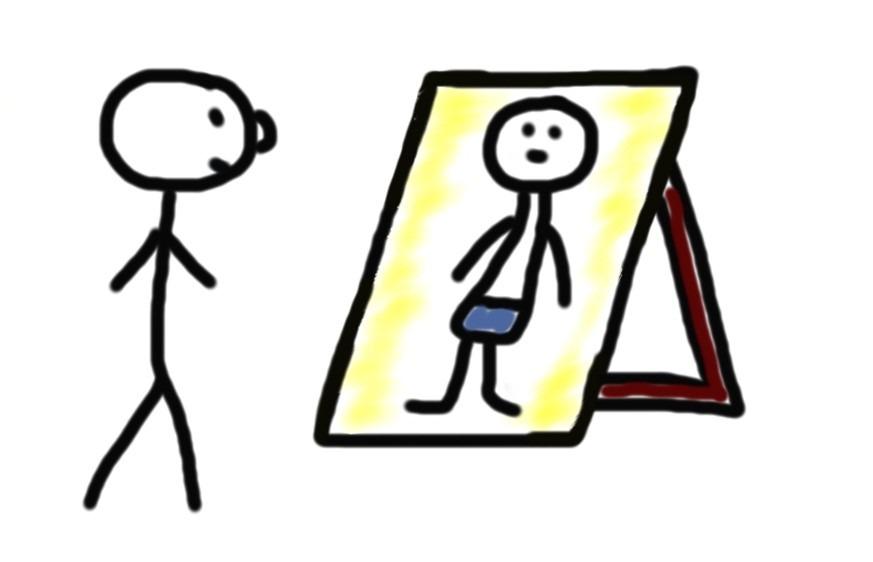Selbstbewusstes Auftreten vor dem Spiegel üben
