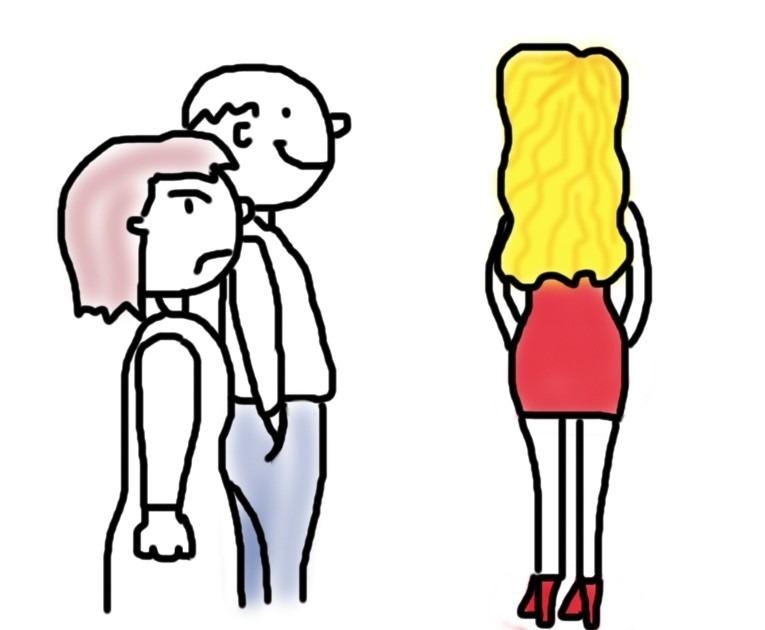 Eifersucht Frau kuckt wütend einer anderen Frau hinterher