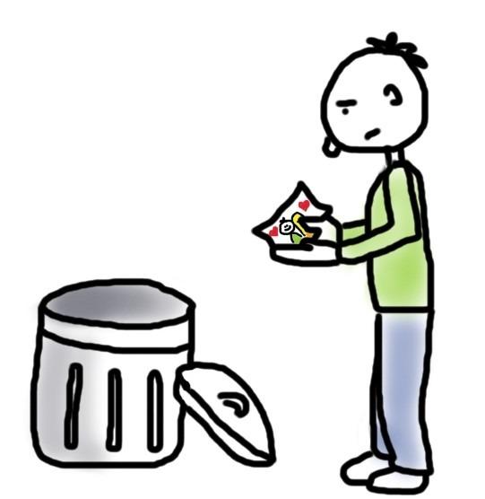 Nicht loslassen können_Mann mit Foto neben Mülltonne