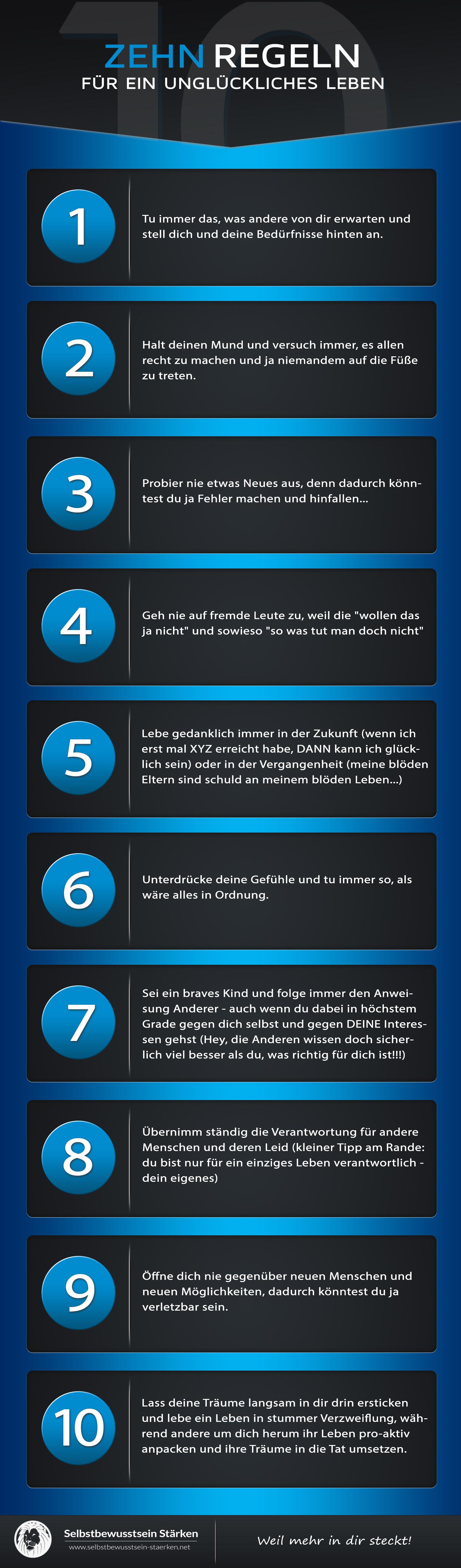 10 Regeln für ein unglückliches Leben