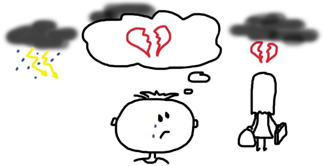 Mensch weint der zerbrochenen Liebe hinterher