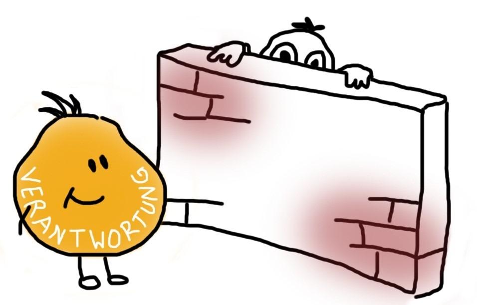 Mensch versteckt sich hinter einer Mauer vor der Verantwortung