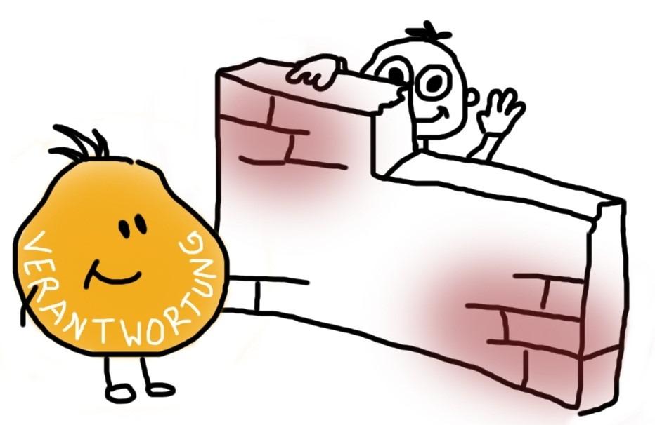 Mensch versteckt sich nur noch halb hinter einer Mauer vor der Verantwortung und winkt