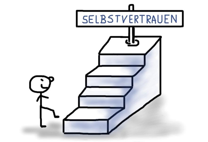 Treppe mit vielen kleinen Stufen führt zum Selbstvertrauen