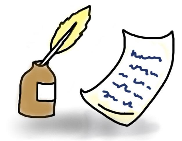 Tintenfass, Feder und geschriebener Brief