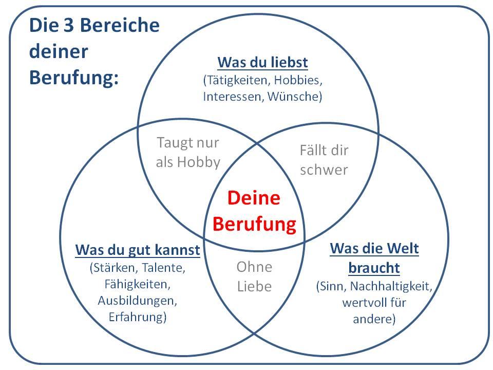 Drei Kreise für die drei Bereiche aus denen sich die Berufung zusammensetzt