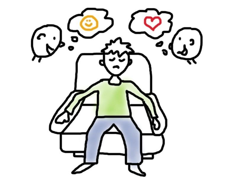 Mann im Sessel und um ihn herum Leute mit netten Botschaften