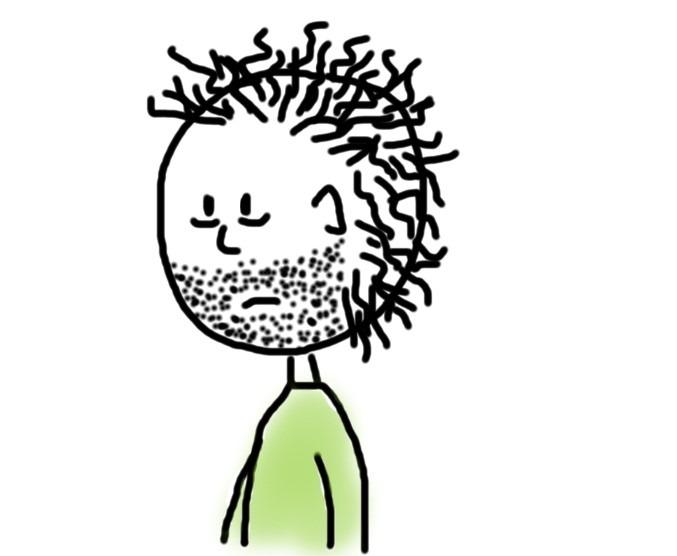 Mann mit Bartstoppeln und struppigen Haaren