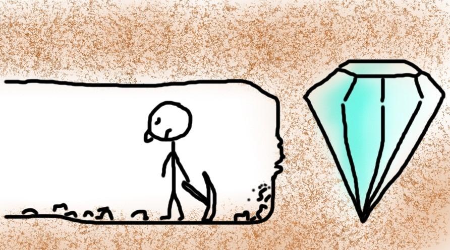 Mann der nach Diamanten gräbt und kurz vor dem Ziel aufgibt