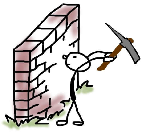 Blockaden lösen Titelbild Figur schlägt Mauer ein