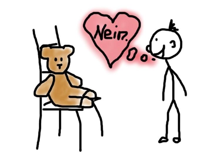 Nein sagen - Mann übt mir Teddybär lieb nein zu sagen