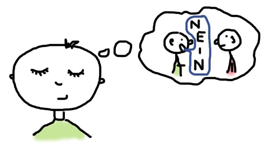 Nein sagen - Mann stellt sich vor wie er nein sagt