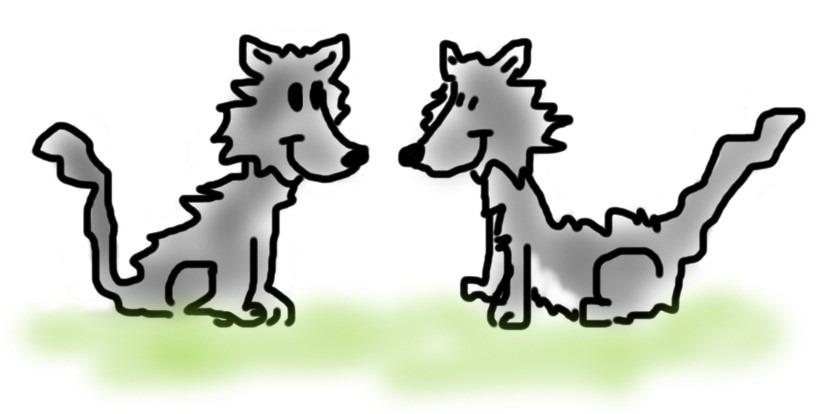 Zwei glückliche Wölfe