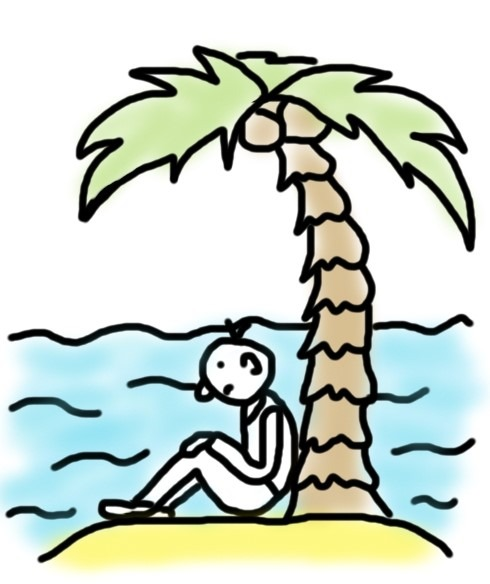 Mensch auf einsamer Insel