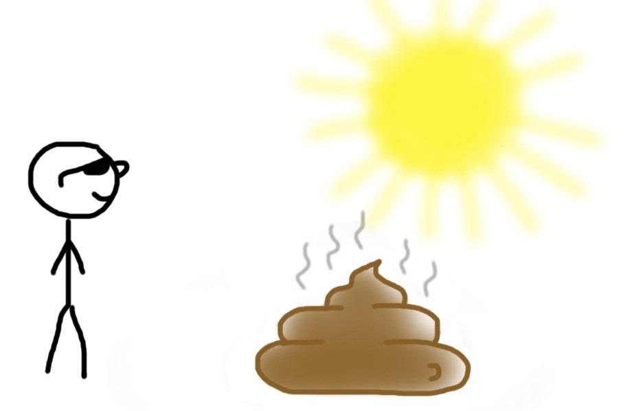 Mensch schaut in die Sonne statt auf den Haufen Mist