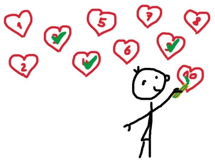 10 Herzen wovon einige schon abgehakt sind