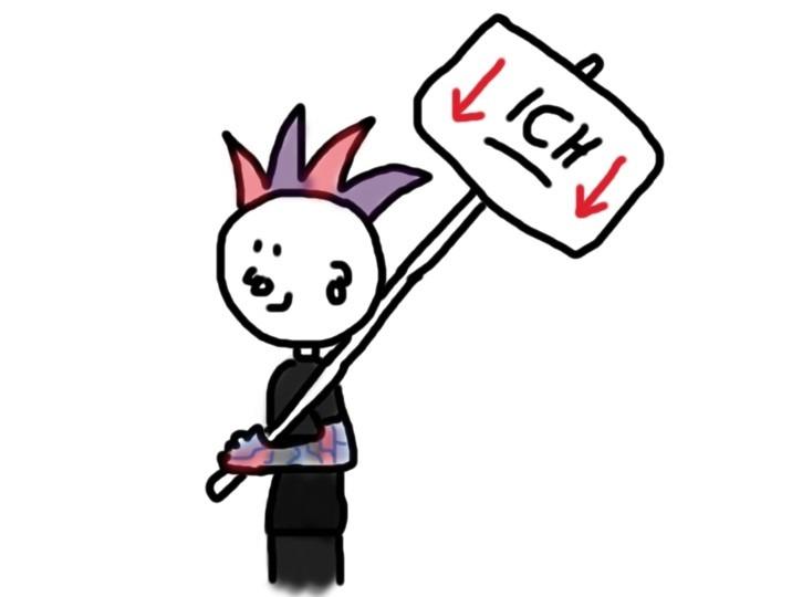 Punk mit Schild ICH