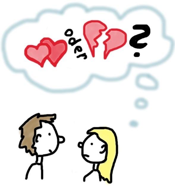 Gehen oder bleiben unschlüssiges Paar