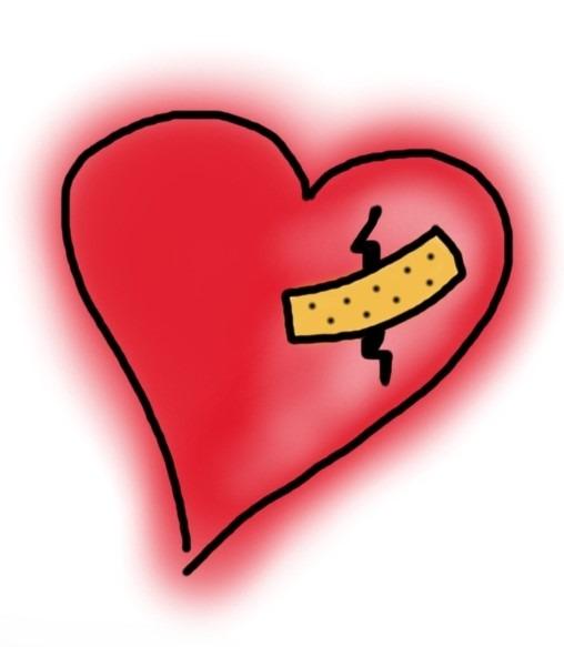 Liebeskummer gebrochenes Herz mit Pflaster