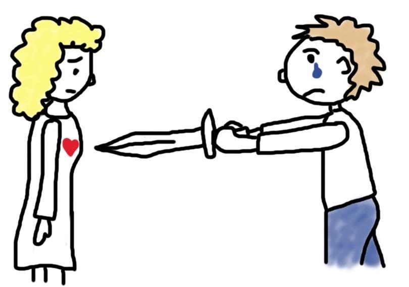 Mensch mit Schwert verletzt das Herz der Frau