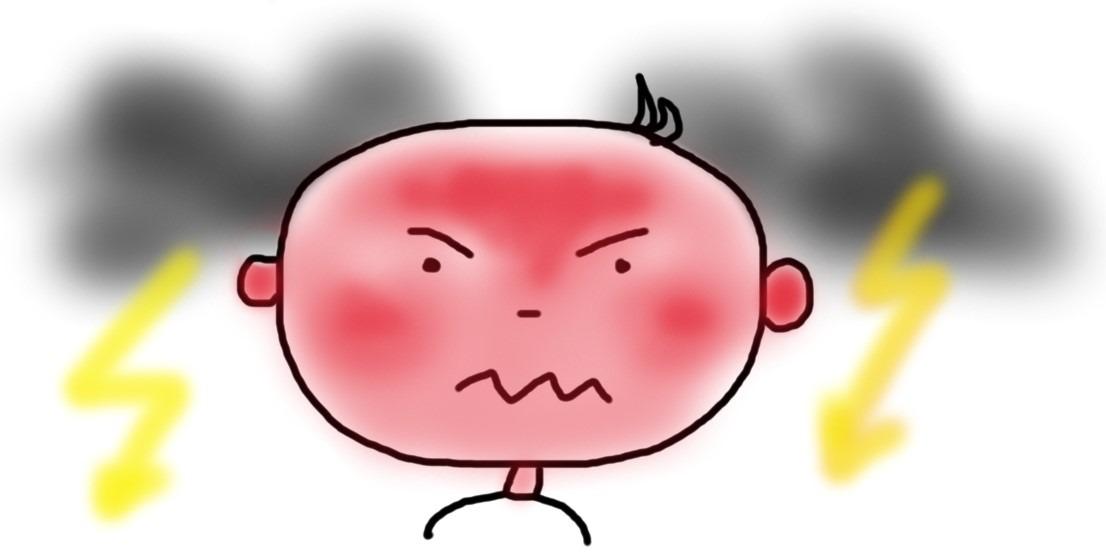 Wütendes Gesicht mit Gewitterwolken