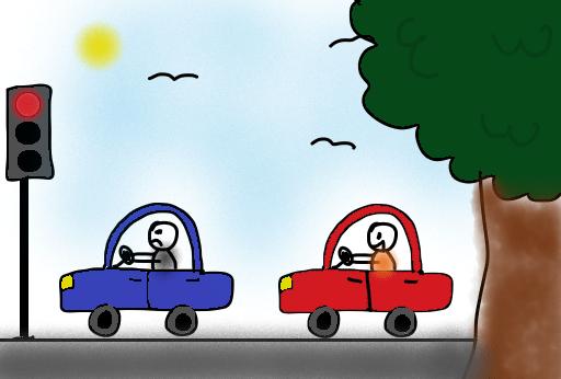 zwei Autofahrer an einer Ampel