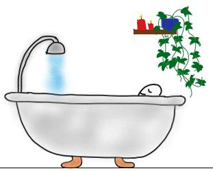 Mann entspannt in Badewanne